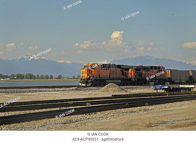 Burlington Northern Santa Fe Railway BNSF train approaching Roberts Bank Coal Port, South Delta, British Columbia, Canada
