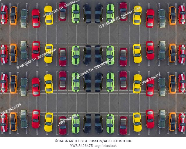 Colorful Ford Mustangs, Mustang Club in Reykjavik, Iceland. Drone photography