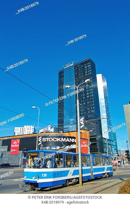 Tram in front of Stockmann department store Tallinn city business district Estonia the Baltics Europe