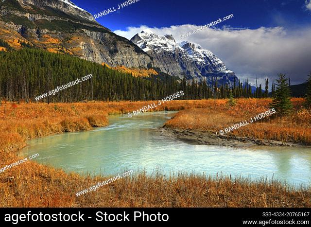 Mistaya River Flowing Along The Ice Parkway in Banff National Park in Alberta Canada