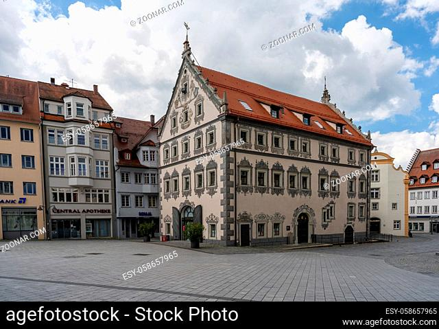 Ravensburg, BW / Germany - 21 June 2020: view of the Lederhaus building in the heart of the old town of Ravensburg in southern Germany