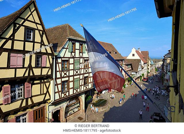 France, Haut Rhin, Riquewihr, labelled Les Plus Beaux Villages de France (The Most Beautiful Villages of France), traditional half-timbered houses in the main...