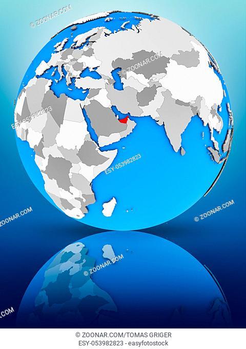 United Arab Emirates on globe reflecting on surface. 3D illustration