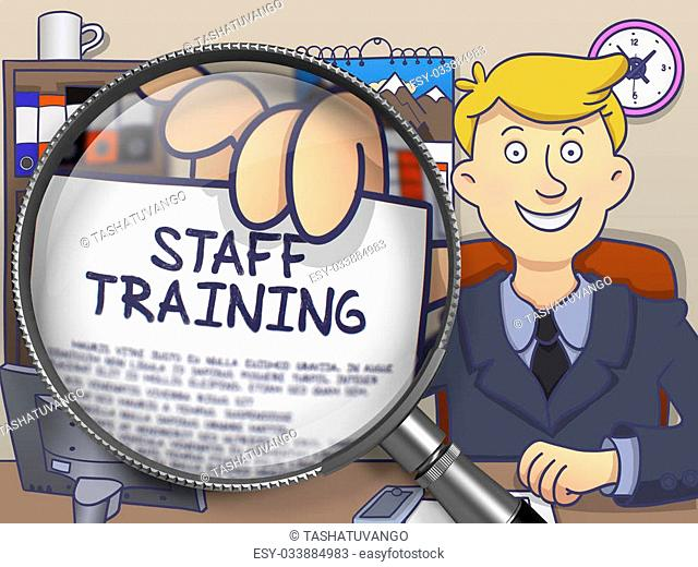 Staff Training on Paper in Business Man's Hand to Illustrate a Business Concept. Closeup View through Lens. Multicolor Modern Line Illustration in Doodle Style