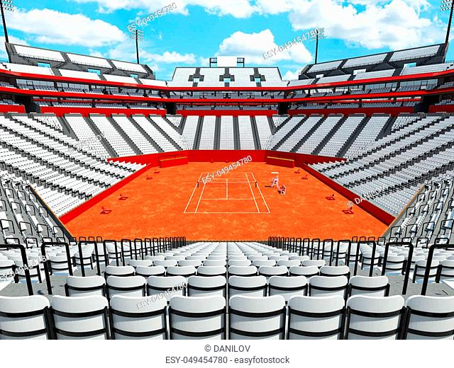 3D render of beutiful modern tennis clay court stadium with white chairs for fifteen thousand fans