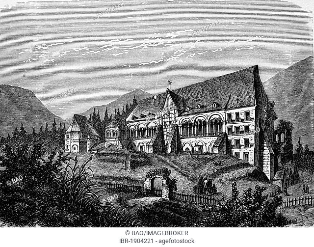 Imperial Palace in Goslar, Lower Saxony, Germany, historical woodcut, 1870