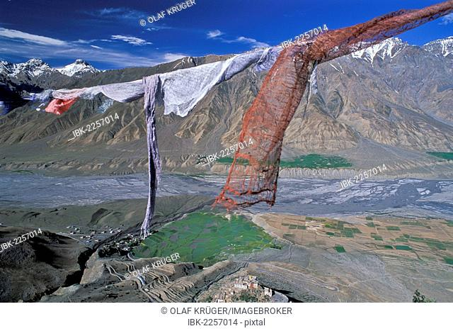 Prayer flags, view of fields and the Buddhist Ki or Key Monastery or Gompa, Spiti Valley, Lahaul and Spiti district, Indian Himalayas, Himachal Pradesh