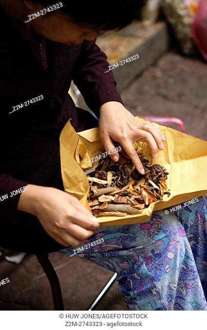 Woman with dried vegetables wrapped in brown paper, Traditional street market, Pho Thanh Ha, Old Quarter, Hanoi, Vietnam