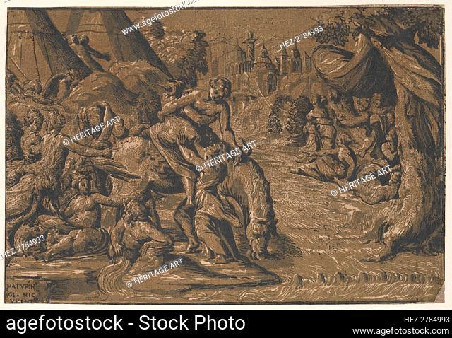 Cloelia the Roman hero in the centre being helped onto a horse, Rome in the background, .., 1540-50. Creators: Niccolo Vicentino, Maturino da Firenze