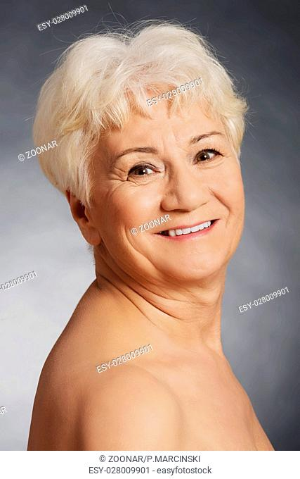 Portrait of an old nude woman