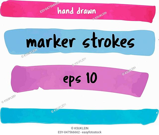 Vector set of hand drawn colorful marker strokes