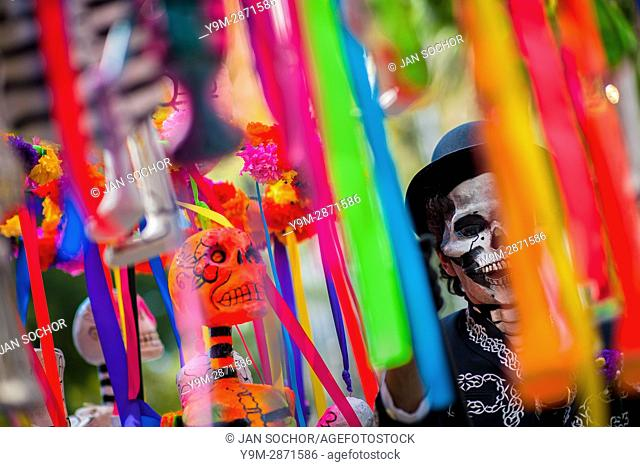 A Mexican man, dressed as skeleton (Calaca), performs during the Day of the Dead festival in Mexico City, Mexico, 29 November 2016