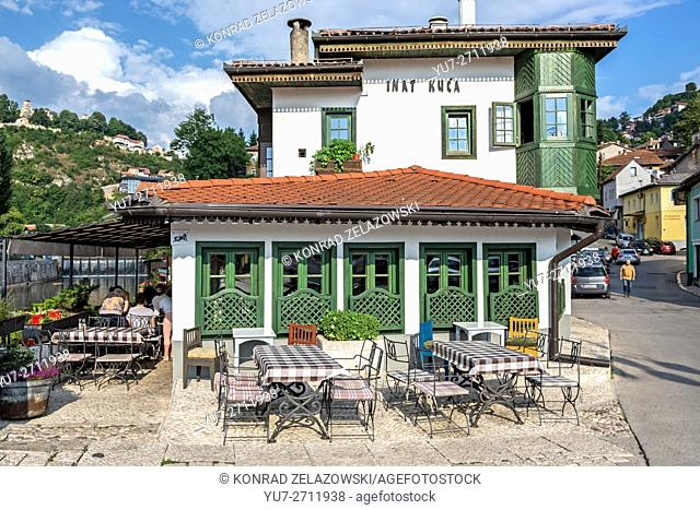 traditional Bosnian restaurant Inat kuca (House of Spite), Old Town of Sarajevo