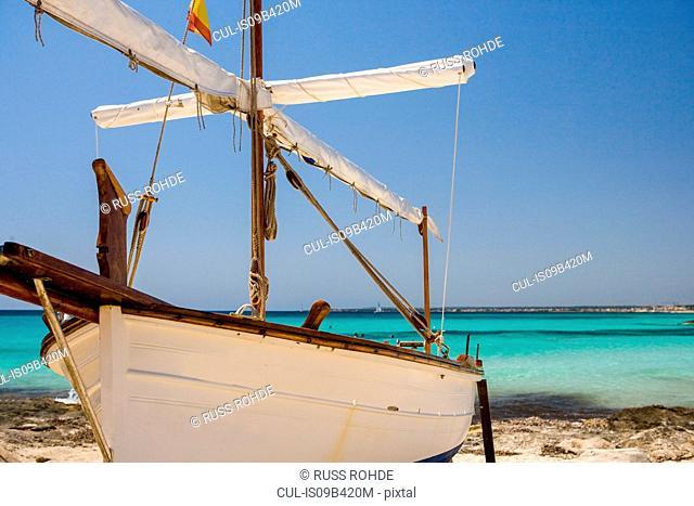 Beached fishing boat, Es Trenc, Majorca, Spain