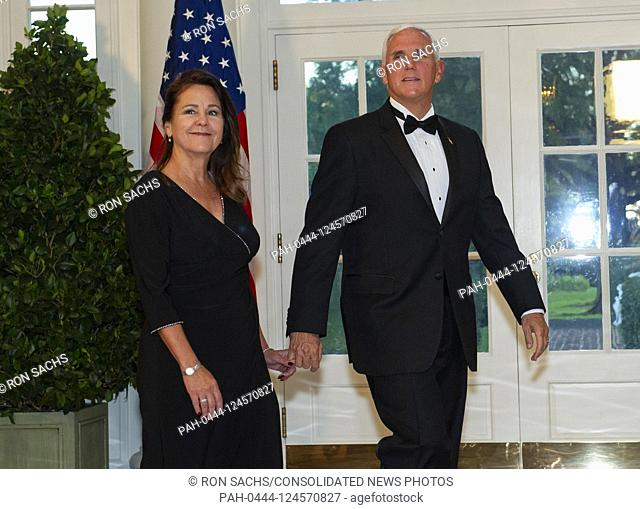 United States Vice President Mike Pence and Karen Pence arrive for the State Dinner hosted by United States President Donald J
