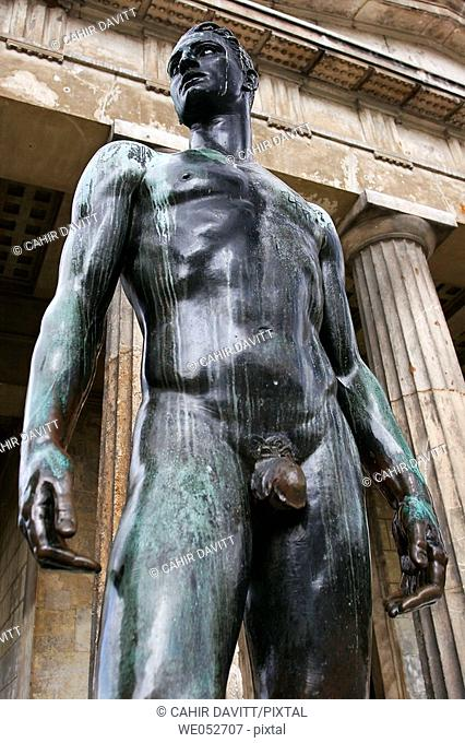Bronze statue of Theseus standing guard at the Theseus Temple, in the grounds of the Volksgarten, Vienna, Austria