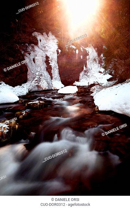 Unknown rivers and waterfalls in Val Venegia, Paneveggio Natural Park, Dolomites, Italy