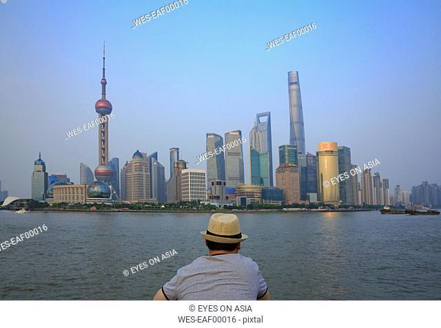 China, Shanghai, back view of man looking at Pundong