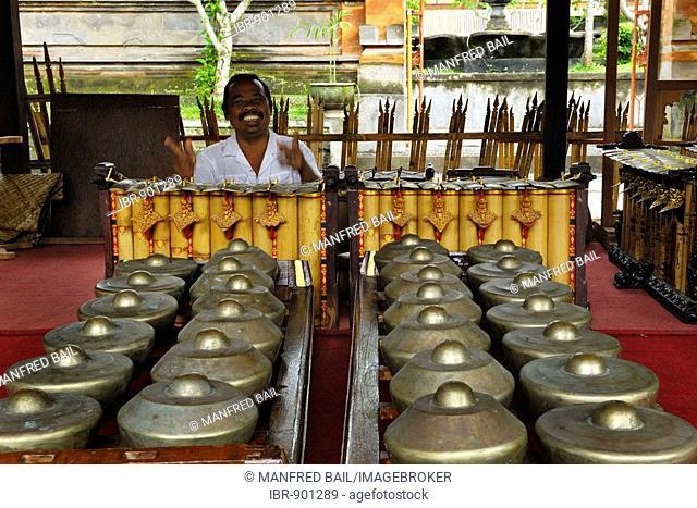 Gamelan instruments in Pura, temple, Samuan Tiga near Bedulu-Ubud, Bali, Indonesia, Southeast Asia