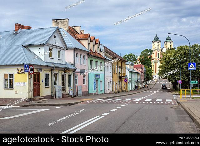 Main street with Basilica of Visitation of Blessed Virgin Mary in former Dominican monastery in Sejny town located in Podlaskie Voivodeship, Poland