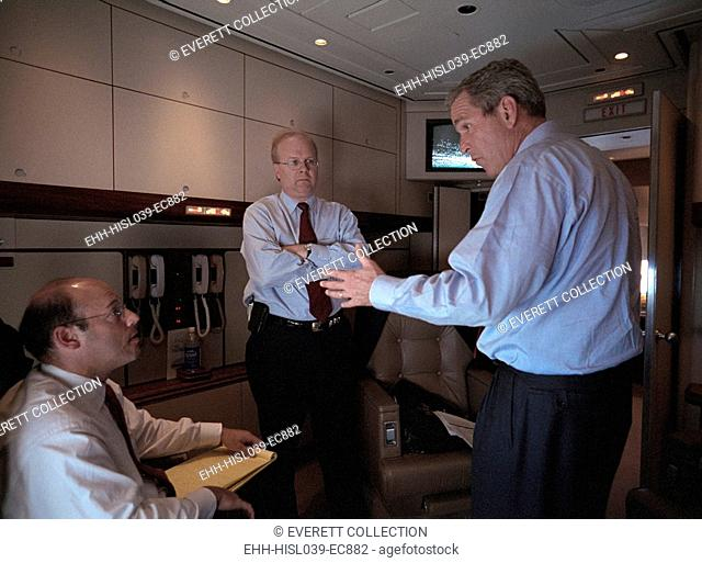 President George W. Bush with Ari Fleischer (left) and Karl Rove on Air Force 1, Sept 11, 2001. Between 4.36 and 6:54, Bush and his staff were flying from...