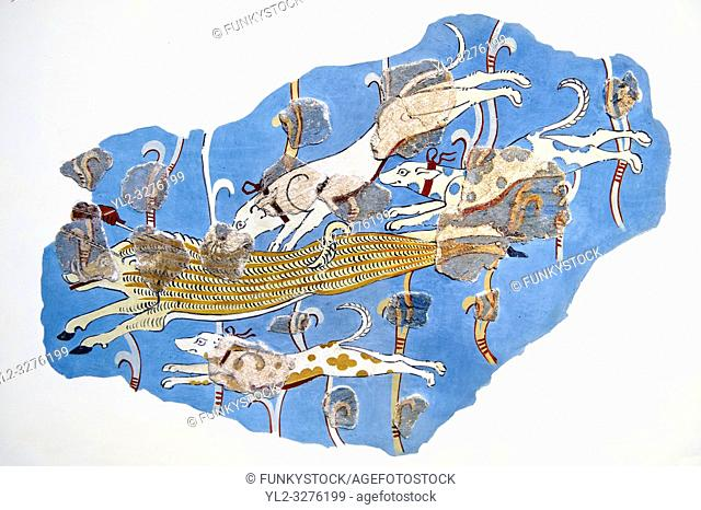 Mycenaean Fresco wall painting of a Wild Boar Hunt from the Tiryns, Greece. 14th - 13th Century BC. Athens Archaeological Museum