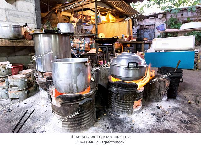 Pots over an open fire, traditional restaurant, Kanchanaburi Province, Central Thailand, Thailand