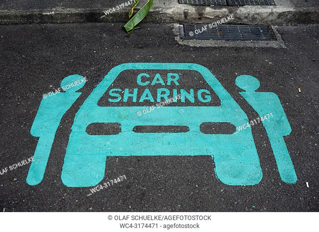 04. 04. 2018, Singapore, Republic of Singapore, Asia - A parking space for car sharing in Chinatown