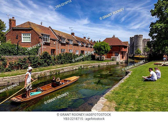 Punting on the River Stour, Canterbury, Kent, UK