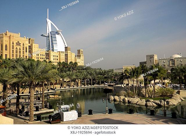 United Arab Emirates, Dubai, Souk Medinat Jumeira and Burj al Arab