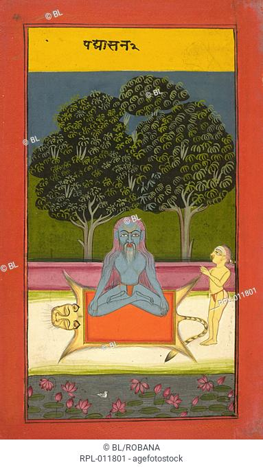 A yogi in lotus posture Padma asana, seated on a tiger skin with a devotee standing by with folded hands. Image taken from Asanas and Mudras Hata yoga
