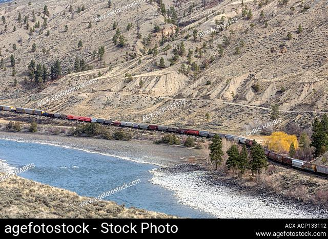 cN & CP rail line, freight train, Thompson River Valley, British Columbia, Canada
