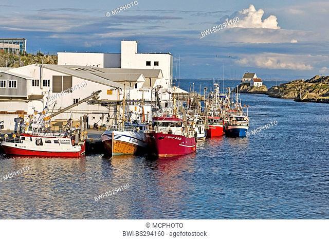 fishing boats on the wharf, Norway, Rogaland, Karmoy, Skudeneshavn