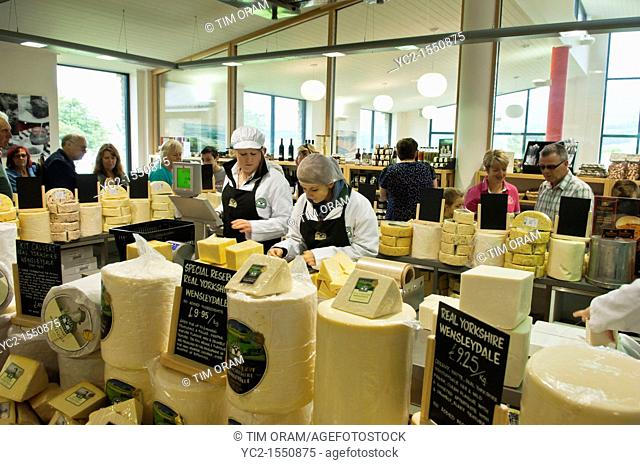 The cheese shop in the Wensleydale Creamery visitor centre in Hawes in Wensleydale in North Yorkshire , England , Britain , Uk