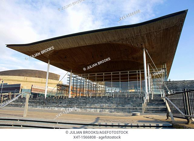 The Welsh Assembly debating chamber, or Senedd, Cardiff