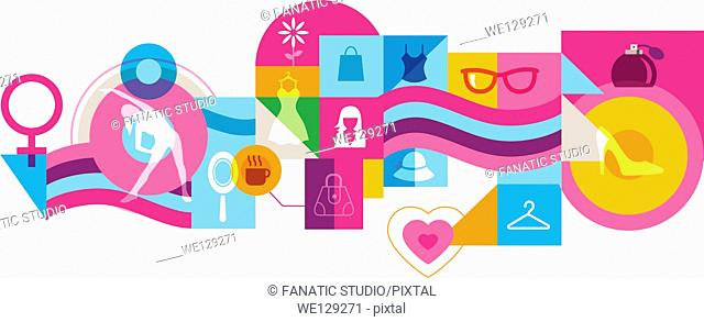 Illustrative collage representing woman's lifestyle