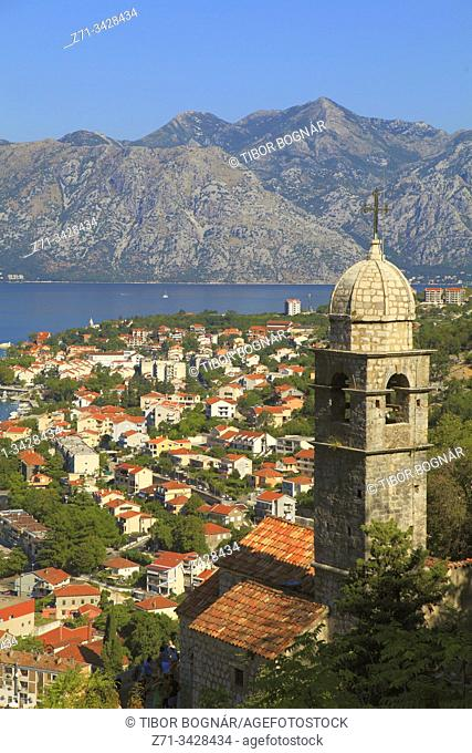 Montenegro, Kotor, Bay of Kotor, aerial view, Our Lady of Health church