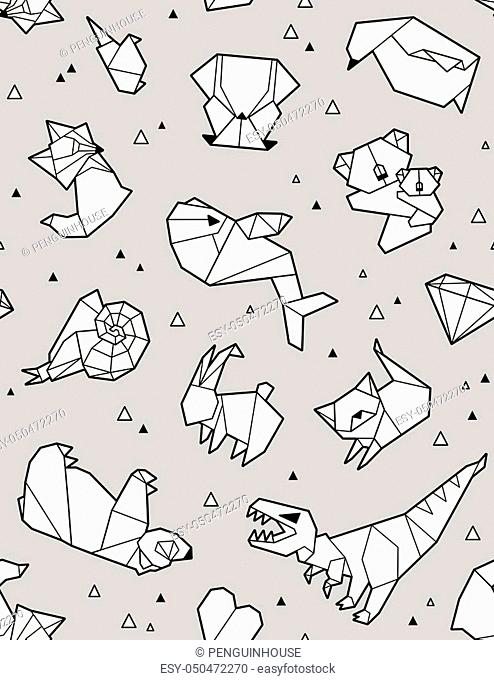 Seamless origami pattern with animals and triangles. Paper bear, cat, owl, whale, dinosaur, koala. Geometric background in gray colors