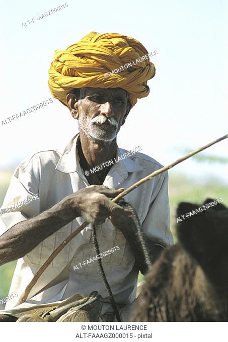 India, Rajasthan, man and donkey