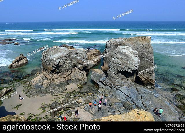 Praia das Catedrais (Cathedral beach), Natural Monument. Ribadeo, Lugo province, Galicia, Spain