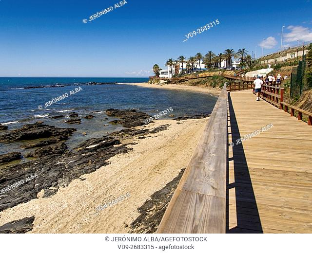 Senda Litoral. Pathway wooden walkway path beach, Mijas Malaga province Costa del Sol. Andalusia southern Spain Europe