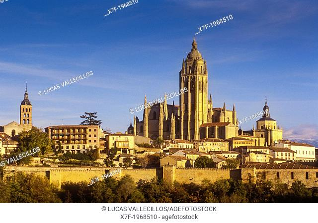 Cathedral, San Andres church and city skyline, Segovia, Castilla-Leon, Spain