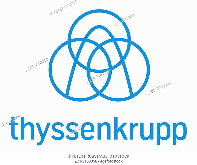 Logo of the German industrial group ThyssenKrupp based in Essen - Germany. Caution: For the editorial use only. Not for advertising or other commercial use