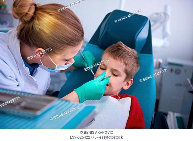 Young boy in a dental surgery teeth chech