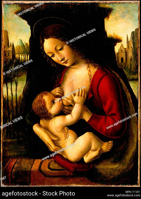 Madonna and Child. Artist: Bernardino dei Conti (Italian, Milan, 1496-1522); Medium: Oil on wood; Dimensions: Overall, with additions, 15 7/8 x 12 in