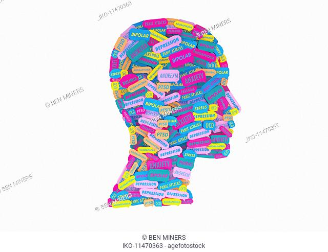 Lots of speech bubbles about different mental health issues forming human head