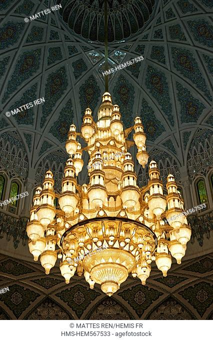 Sultanate of Oman, Muscat, Sultan Qaboos Grand Mosque, the ceiling light