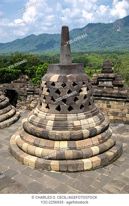 Borobudur, Java, Indonesia. A Stupa at the Borobudur Temple