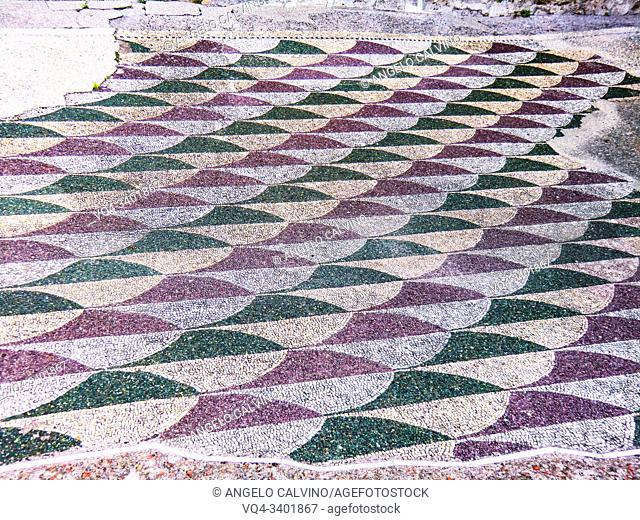 Mosaic floor, Ruins of the Baths of Caracalla (Terme di Caracalla), Thermae Antoninianae , one of the most important baths of Rome at the time of the Roman...