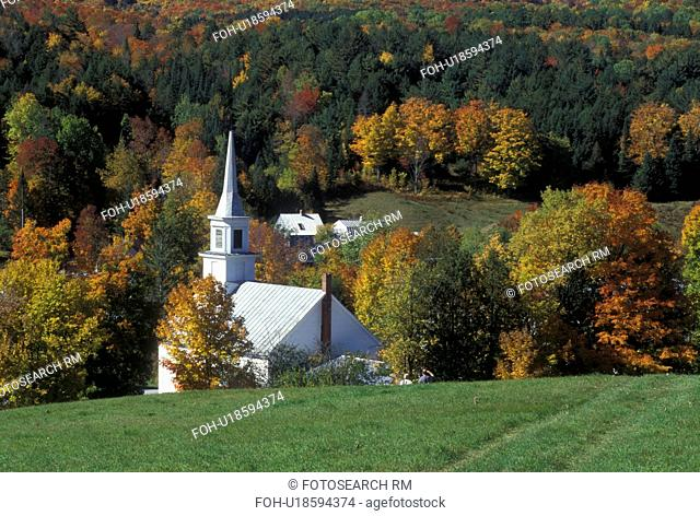 village, church, fall, Waits River, VT, Vermont, Scenic view of the village of Waits River in the autumn